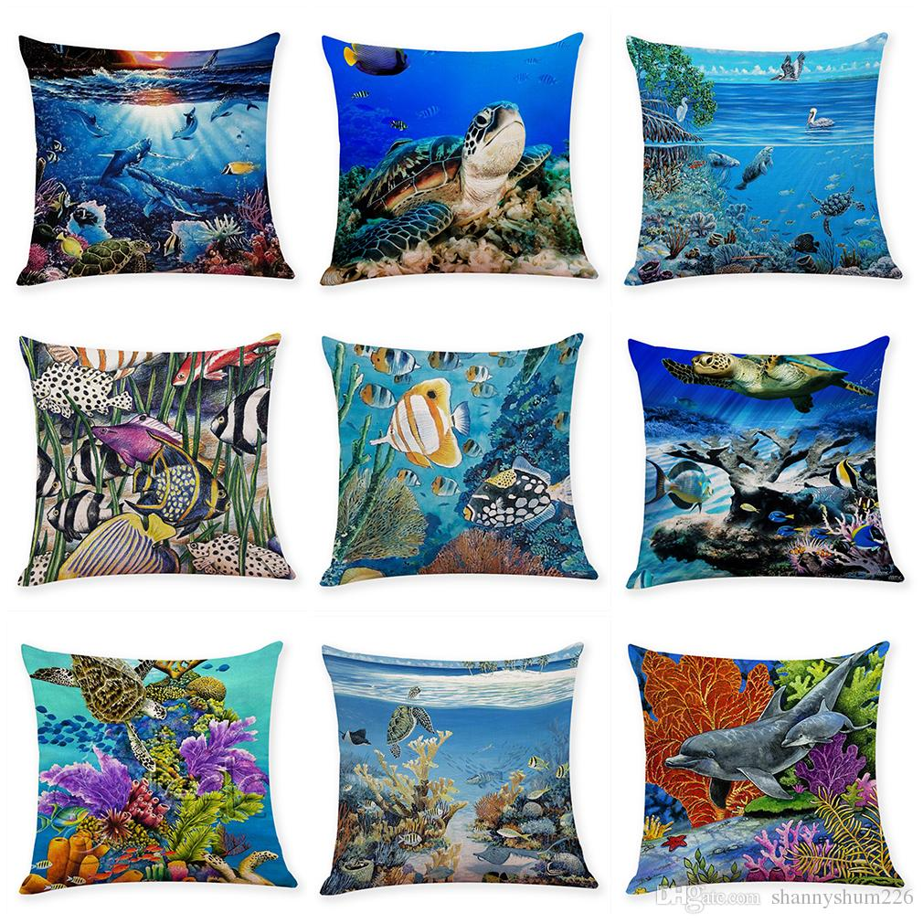 undersea creature linen cushion covers home office sofa square rh dhgate com