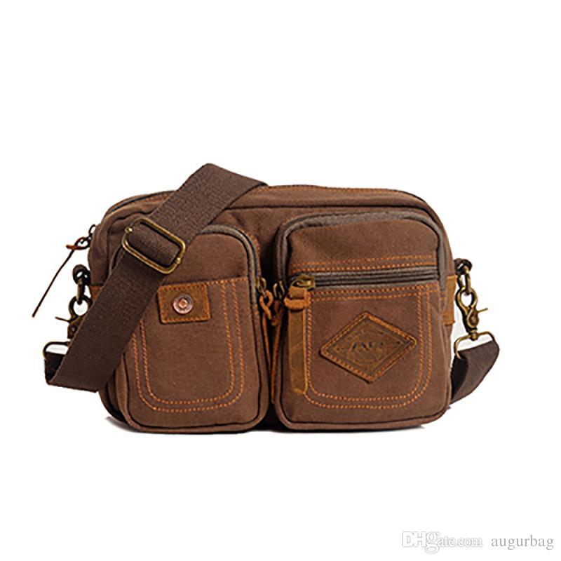 02999917c48 AUGUR Fanny Pack Belt Bag Men Canvas Vintage Small Waist Pack Pouch Waist  Leg Hip Bags Fashion Shoulder Messenger Bags For Men
