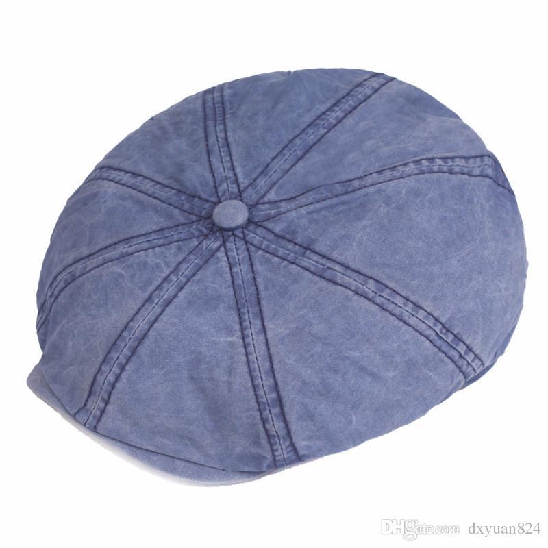 Vintage Vintage Newsboy Hat Eight-Quarter Cap Beret Señoras Mujeres Hombres Hombres Twill Cotton Gorra plana Primavera Verano