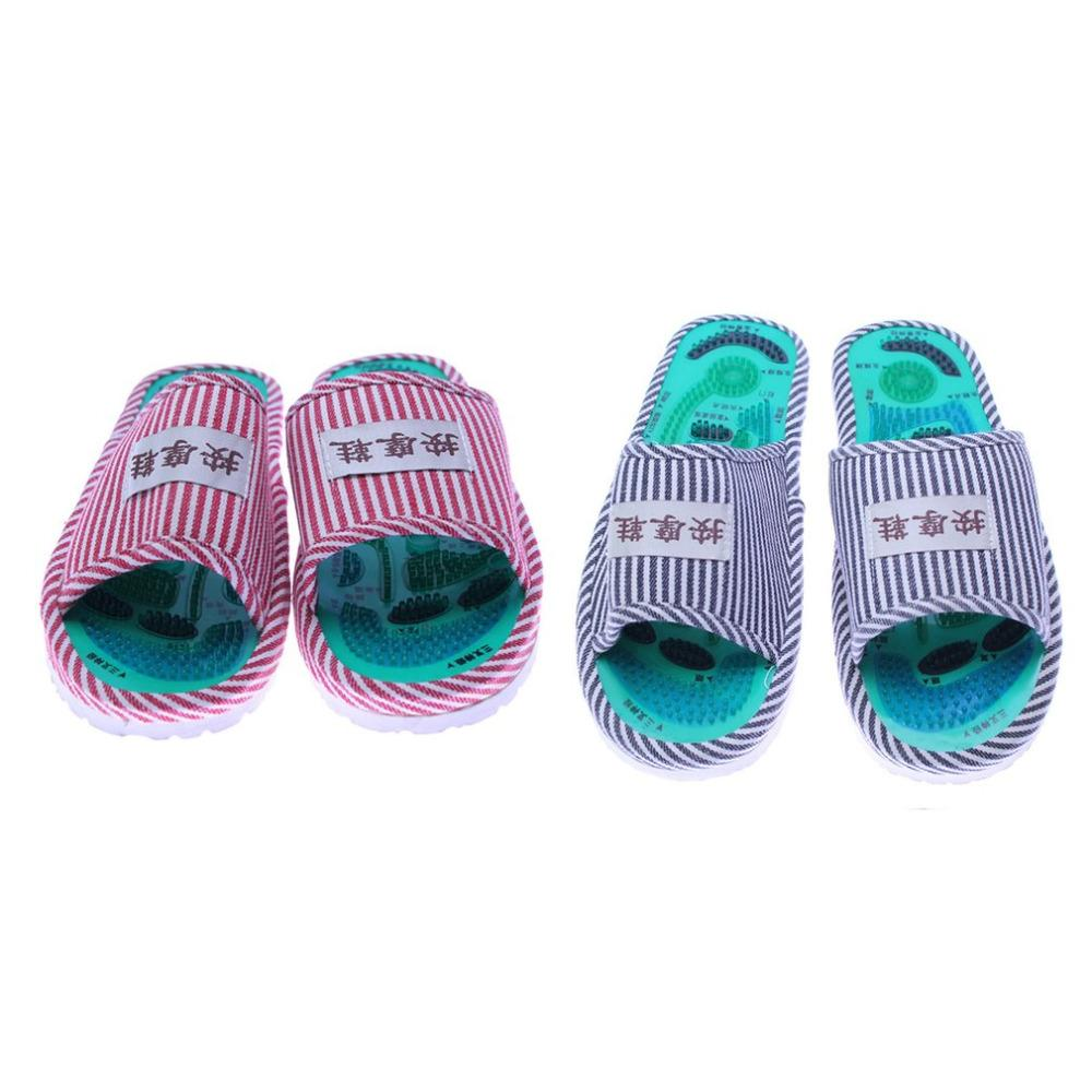25cm Healthy Striped Pattern Reflexology Foot Acupoint Slipper Massage Promote Blood Circulation Relaxation Foot GOOD Care Shoes