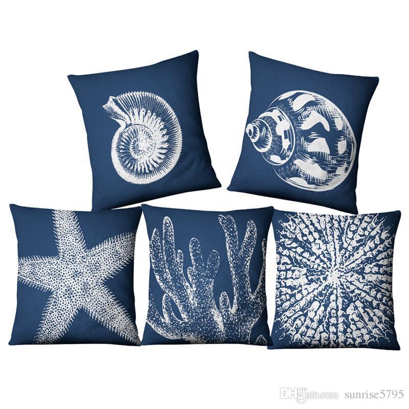 blue nautical cushion cover coral sea shell cojines decorativos rh dhgate com