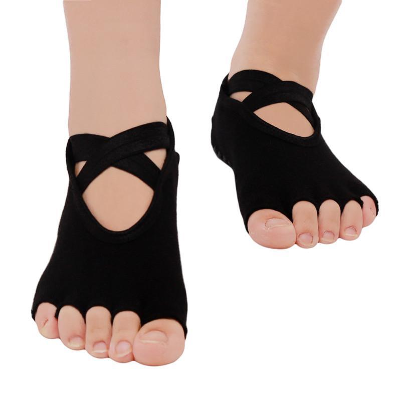Compre Yoga Meias Para Mulheres Com Boa Aderência Antiderrapante Toeless  Bandage Meias Para Ballet Pilates Barre Fitness De Qingfengxu 10a62d74bb94
