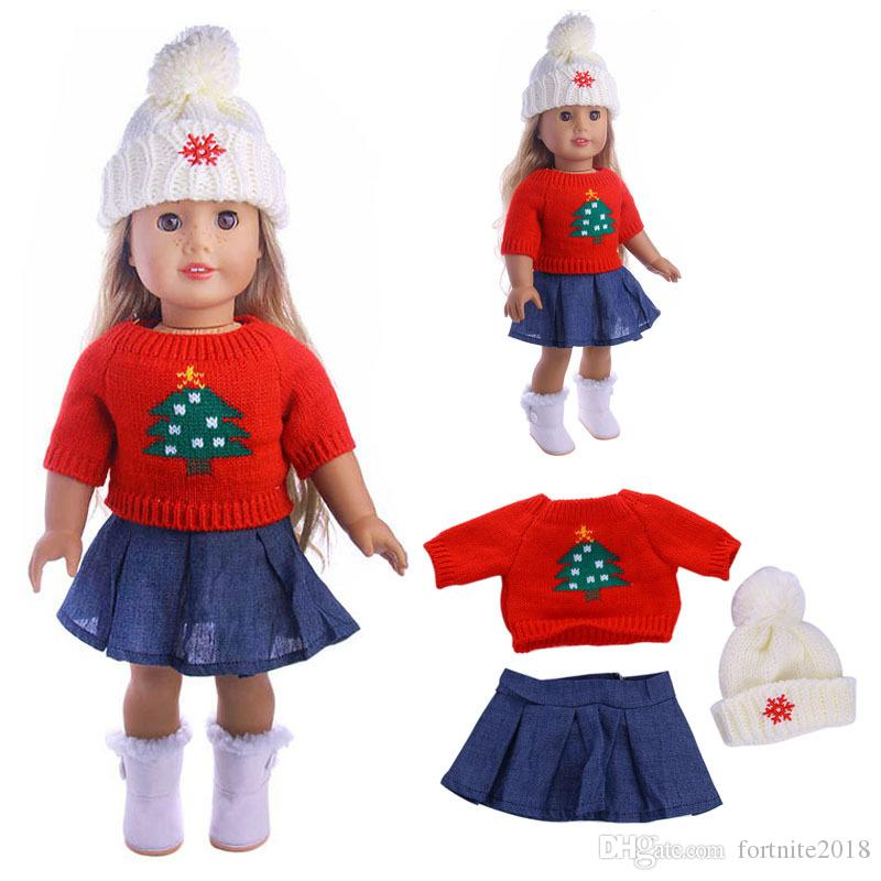 Doll Winter Clothes Sets Sweater Hat Jeans Dress Wool Cap Fit 18 Inch  American Girl Doll Clothes Set Born Children Birthday Gift My Girl Doll  Accessories ... 8f667dec482c
