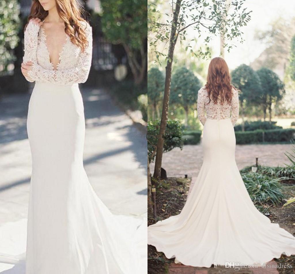 chic lace mermaid wedding dresses sexy deep v neck long sleeves rh dhgate com