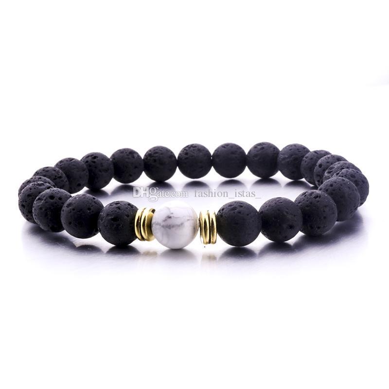 Diffuseur de Parfum Huile Essentielle 8mm Noir Pierre de Lave Perles Élasticité Bracelet Oeil de Tigre Perles Bracelet Stretch Yoga Bijoux