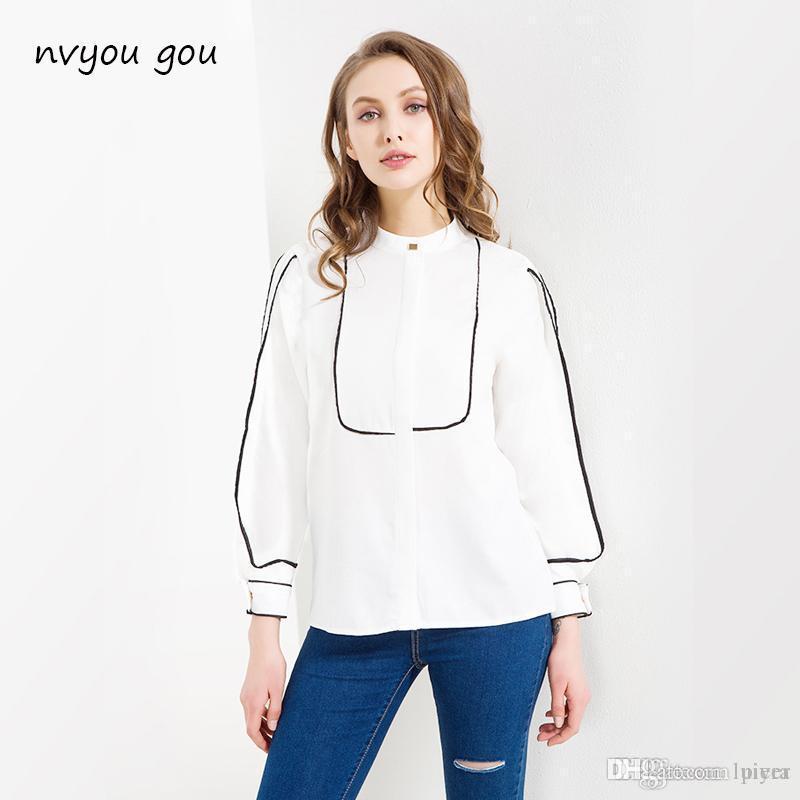 Großhandel Frauen Langarm Beiläufige Lose Bluse Top Damen Umlegekragen  Baumwolle Weißes Hemd Frauen Mode Sommer Frühling Blusen 2018 Von Luiyer,  ... d9769c9fa5