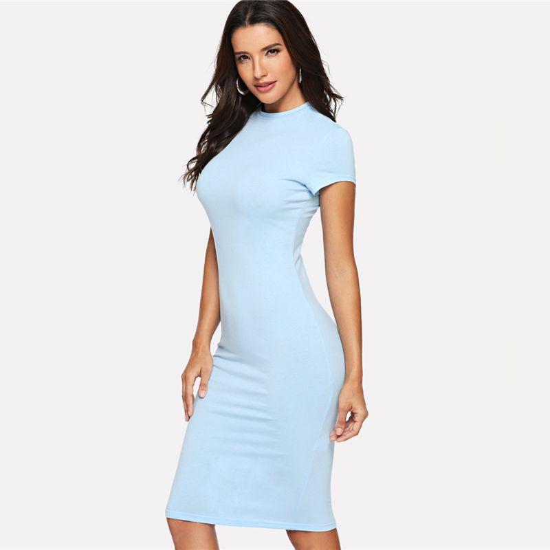 7ac67188a5ec1 Satın Al Bodycon Ofis Bayanlar Workwear Midi Elbise Kadınlar Düz Ekip Boyun  Diz Boyu Kılıf Kalem Ince Yaz Parti Elbise, $12.06 | DHgate.Com'da