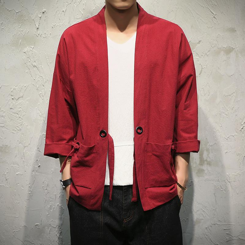 Acquista 2017 Uomini Outwear Giacche Kimono Giapponese Abbigliamento Uomo  Sottile Cardigan Kimono Cappotto Ricamo Giacca Maschile Tuta Sportiva Giacca  Y315 ... d68e319a514b
