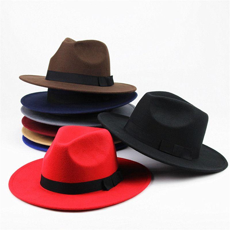 Fashion Vintage Hats Womens Mens Trilby Caps Jazz Hats Fedoras Top Wide Brim Hats Popular Formal Fashion Cap