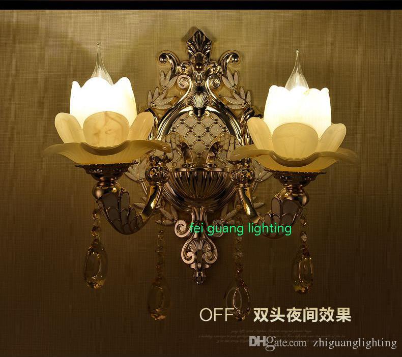 Lámpara de pared de cristal europea de aleación de zinc sala de estar lámpara de pared de fondo dormitorio cálido lámpara de cabecera pasillo luz de jade