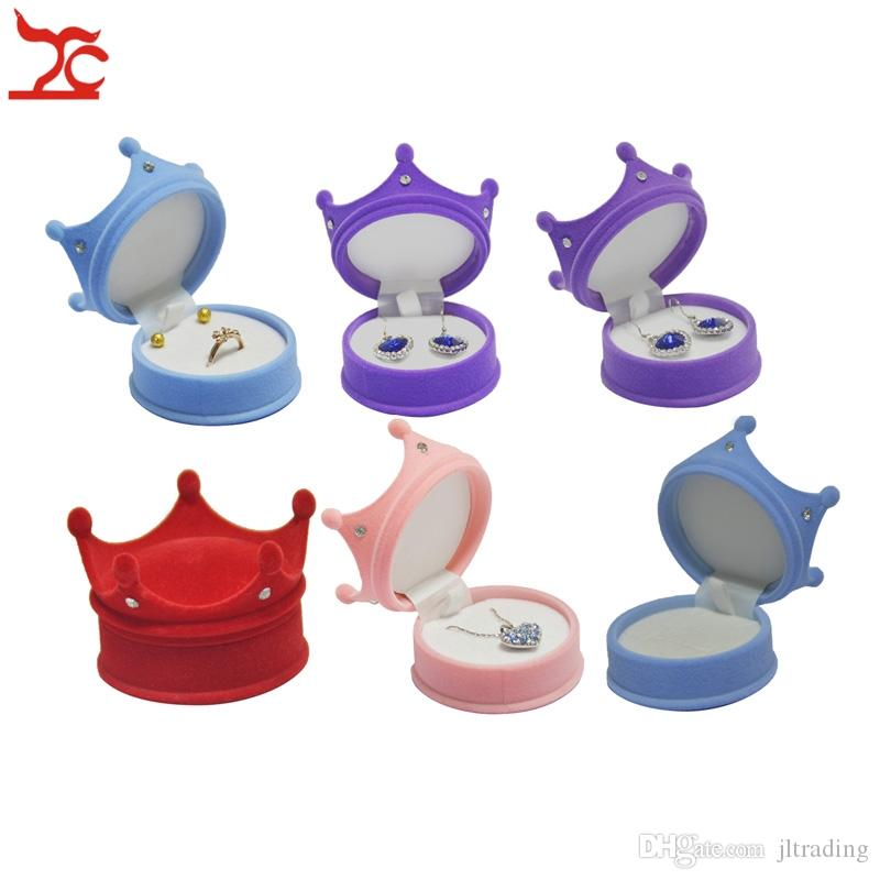 Wholesale Small Cute Crown Princess Velvet Ring Packaging Box Holder Earring Stud Pendant Organizer Storage Gift Boxes Cases