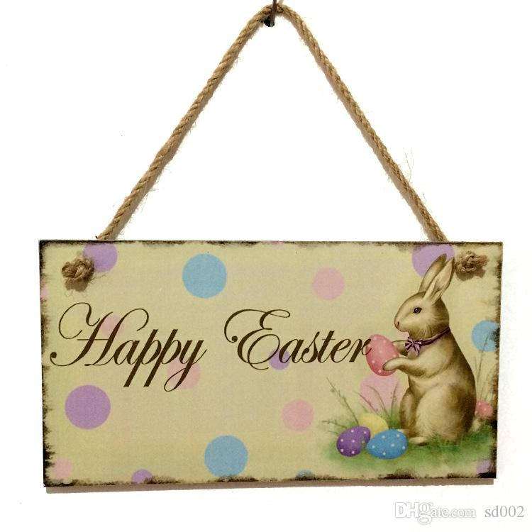 Wooden happy easter hanging board lovely square carving ornament wooden happy easter hanging board lovely square carving ornament for home wall window art decor tags fashion 8 5jm b gag gifts canada gag gifts for boys negle Choice Image