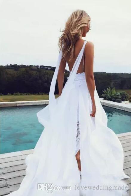 2018 Summer Beach White Lace Chiffon Wedding Dresses Thigh-High Slits Spaghetti Straps Elegant Bridal Gowns Beauty Flowing Backless