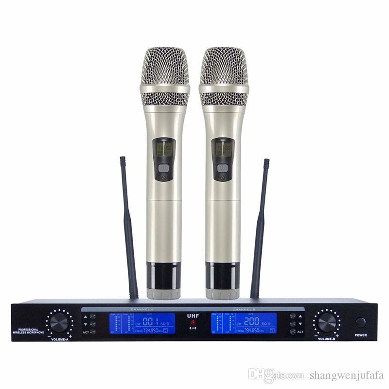 MS-800G Sistema de micrófono inalámbrico UHF profesional Receptor inalámbrico de doble canal Micrófono de mano vocal Micrófono Mike Microfone Microfono Sem Fio