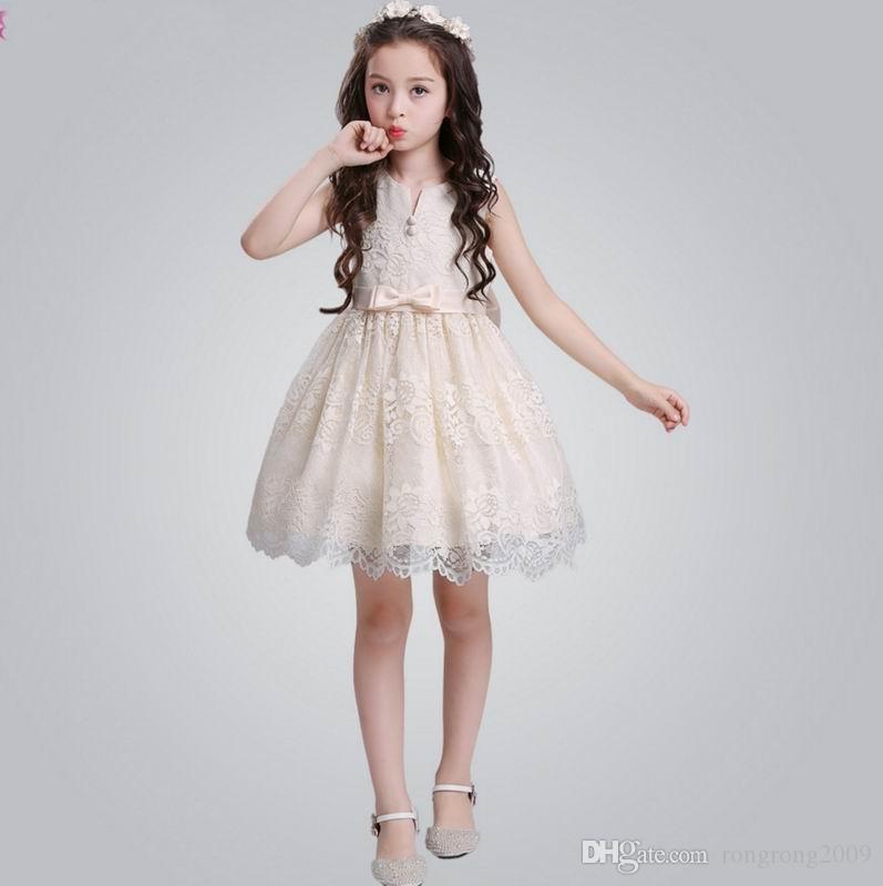 c442c664ca100 Retail 2018 Summer New Teenage Girl Dress Lace Flower Sleeveless Flower  Girl Princess Dress Children Clothing S080
