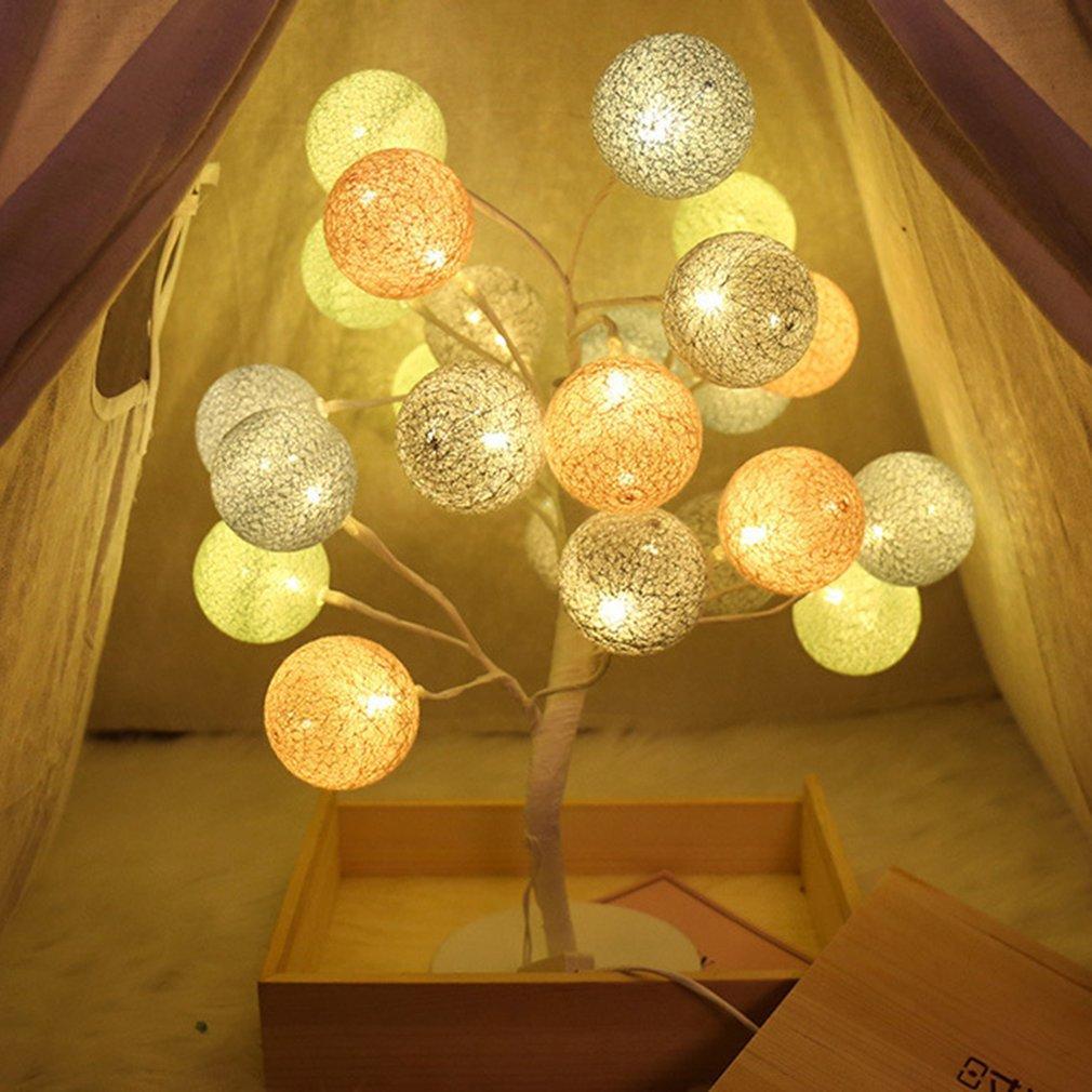 2019 24 leds 45cm romantic cotton ball tree table light desk lamp rh dhgate com