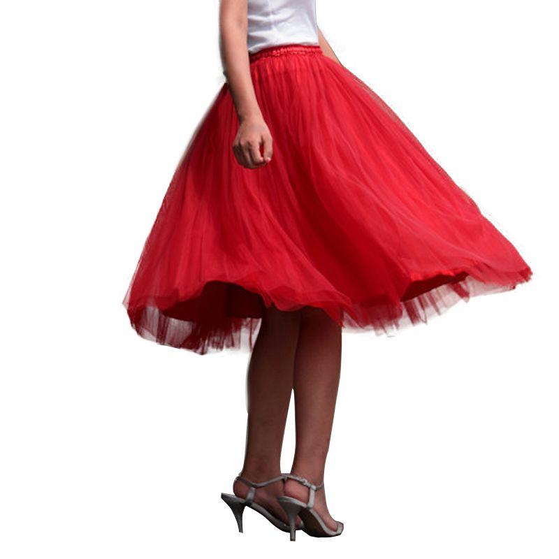 20ddb510f Compre Falda De Tul Rojo Niñas Max Mujeres Adultas Faldas Tutú Hasta La  Rodilla Imperio Boll Vestidos Para Mujer 7 Capas 2017 Primavera Por Encargo  A  52.18 ...