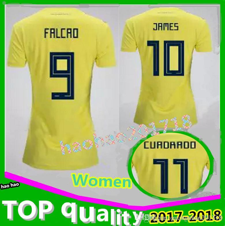 Best Thai Quality 2018 Colombia Women Soccer Jerseys Home Yellow 18 19  Falcao James Cuadrado Aguilar Bacca Football Shirts Under  14.69  9115b3774