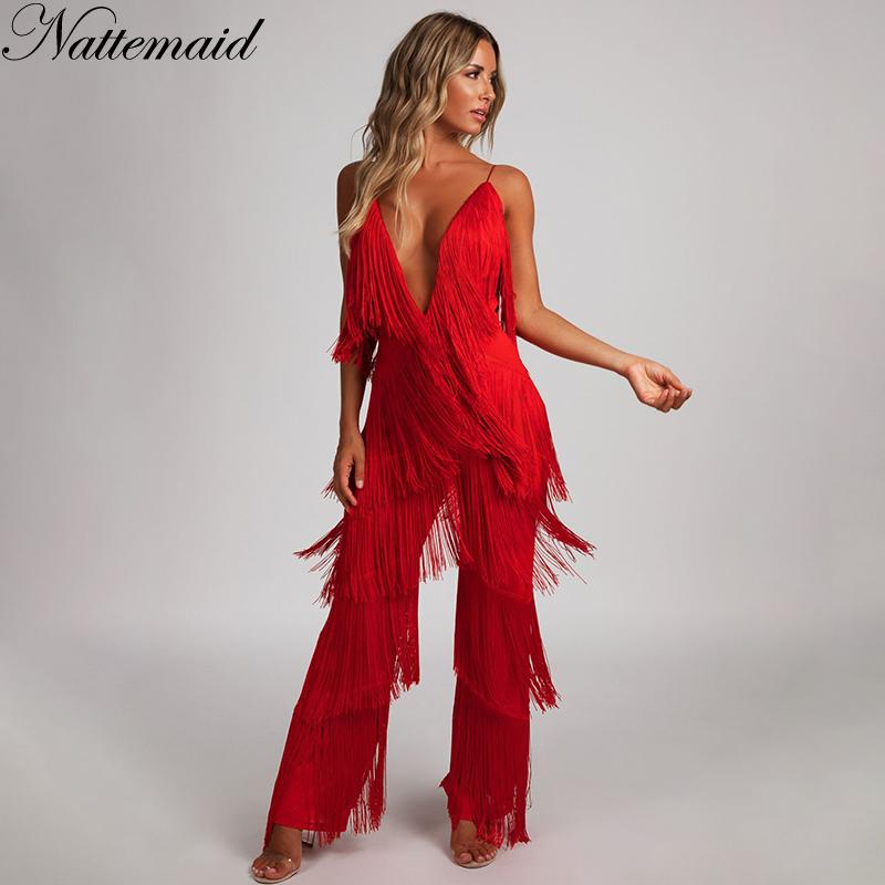 e6d5eeffca1a 2019 NATTEMAID V Neck Backless Halter 2018 Summer Jumpsuit Bandage Casual  Sexy Club Tassel Rompers Womens Jumpsuit White Black Red From Worsted