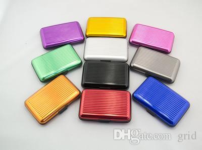 Comercio al por mayor de Aleación de Aluminio ID de Negocios Titular de la Tarjeta de Crédito Monedero Impermeable Anti-magnética RFID Bolsas de Tarjetas Purse Chirstmas Regalos Envío gratis