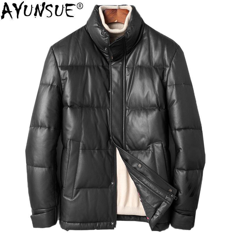 2019 Ayunsue Mens Sheepskin Coat Genuine Leather Jacket Men Winter