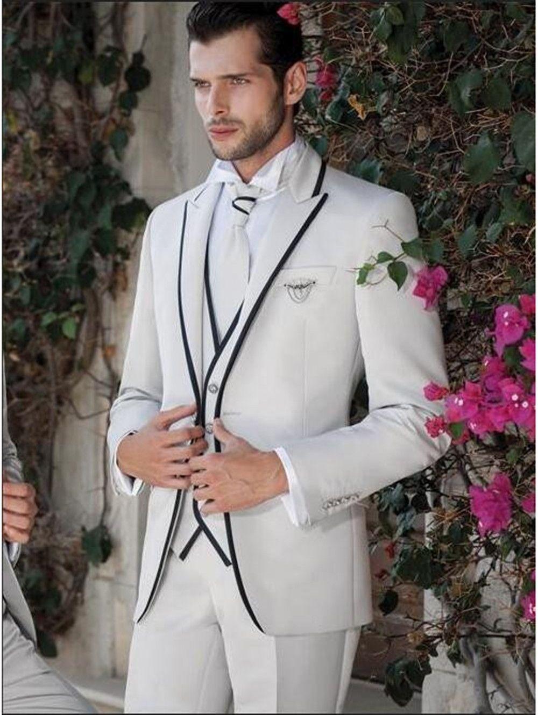 Solovedress Hommes Costume Blanc Slim Fit Trois Pièces GroomsmanTuxedos Veste Tux Gilet Pantalon Ensemble Marié Costumes De Mariage Formel