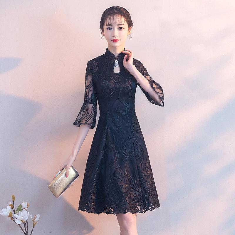 3dba2c457 2019 Black Traditional Chinese Dress Qipao Ladies Evening Dresses Vintage  Cheongsam Women Bride Short Lace Cheongsam Modern Dress From Goodly3128, ...