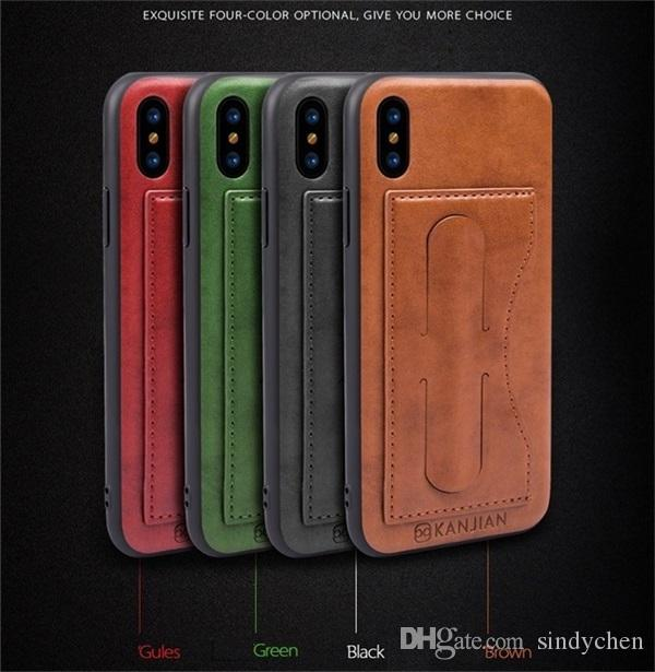 Hot sale creative kickstand phone case card slot leather case with microfiber good protection for iphone X 8plus Samsung S9 Huawei mate10