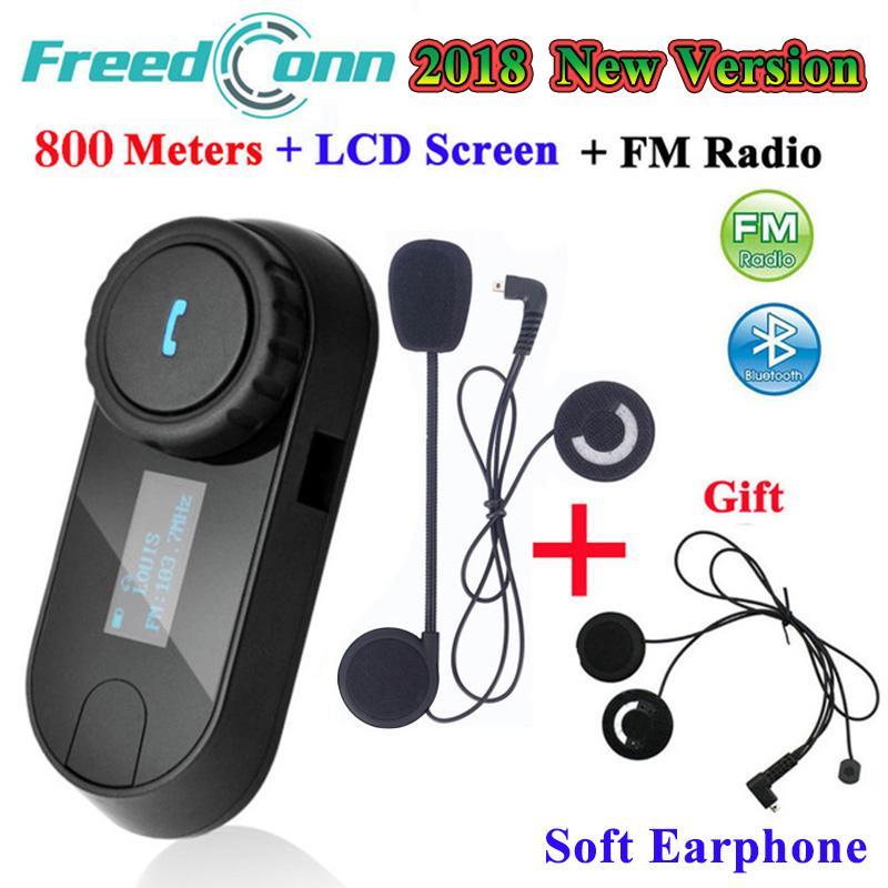 d92507d2a97d9 FreedConn! 1 pc TCOM-SC Bluetooth Interphone Casque Moto Casque Sans Fil  Intercom avec LCD FM Radio + Extra Soft Earphone