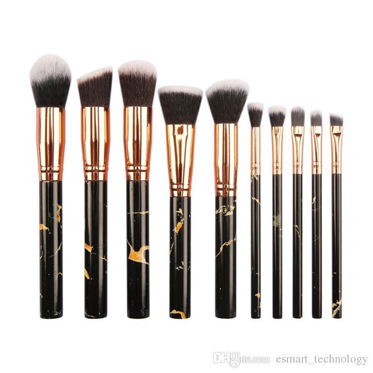 10 sztuk / zestaw Marmurowe Pędzle Makijażowe 3 Kolory Blush Eyeshadow Face Proszek Makijaż Szczotka Zestaw Las Brochas de Maquillaje Maquiagem