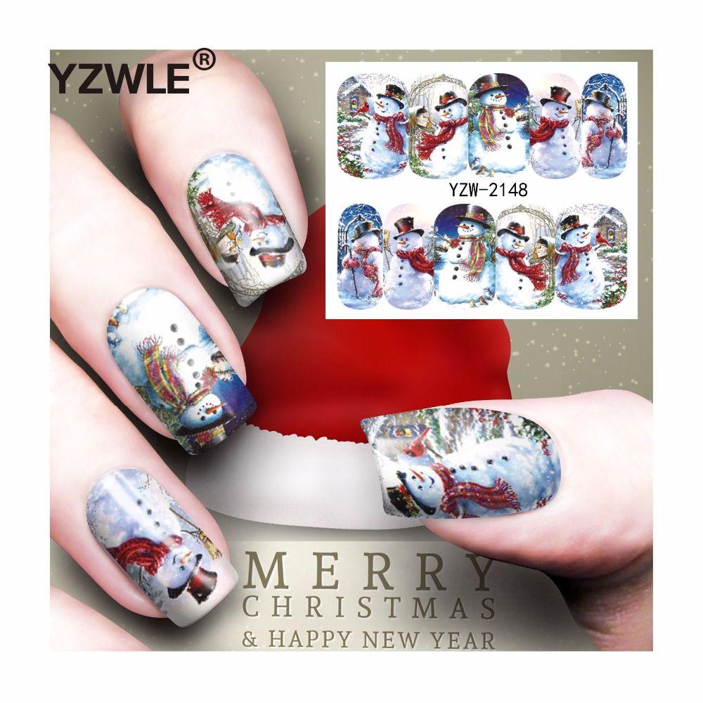 Yzwle 1 Sheet Christmas Design Diy Decals Nails Art Water Transfer ...