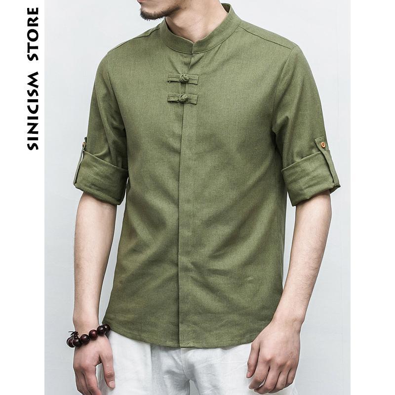 43c77d2675 Compre Sinicismo Tienda Hombres Camisas De Rana De Lino De Algodón Hombres  Manga Tres Cuartos Ropa Sólida Chino Masculino Casual Tamaño Grande 2018  Nuevas ...