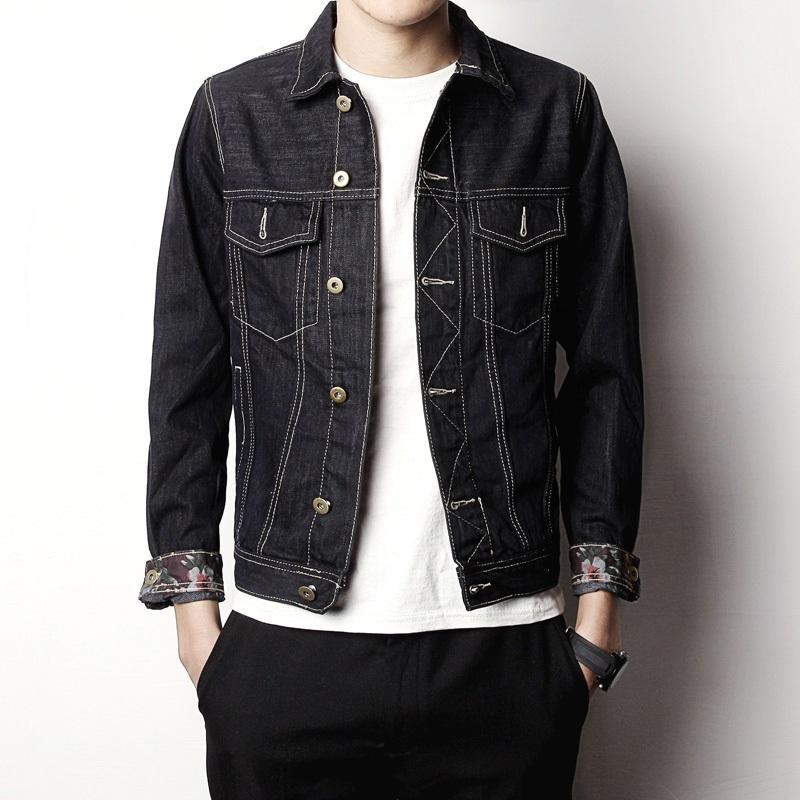 2018 New Design Men S Denim Jacket Coat Slim Fit Black Jeans Jacket