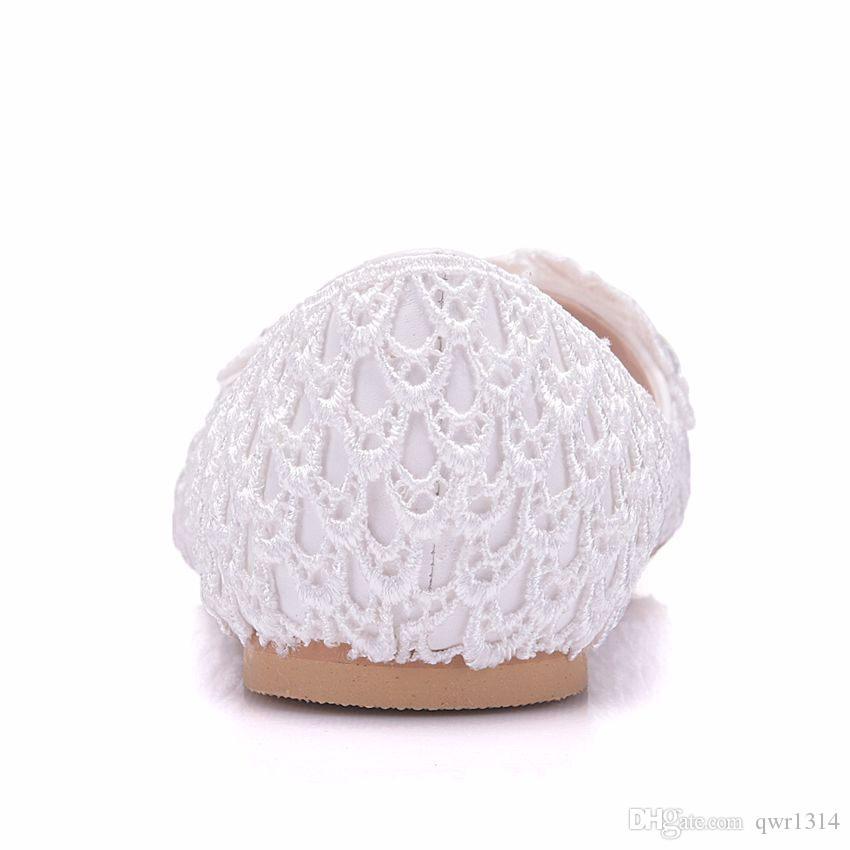 Новый ручной работы белые женщины квартиры кружева цветы острым носом плоские горный хрусталь свадебные туфли плюс размер