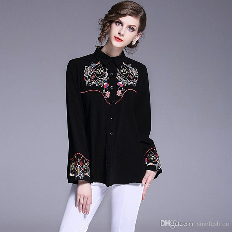 3231817247b5a Retro Office Shirts for Women National Style Embroidery Design Casual Shirt  Dress Ladies Fashion Black Tops 2018 Office Formal Shirt Dress Flare Sleeve  ...