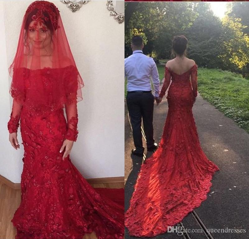 Luxury Red Long Sleeve Evening Dresses Lace Off Shoulder Mermaid Evening Gowns Chapel Train Formal Women Special Occasion Prom Party Dresses
