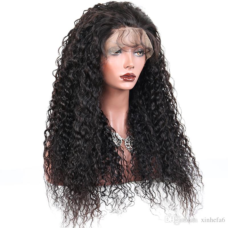 Cheap 130% Density Long Kinky Curly Full Lace Wig Virgin Mongolian Lace Front Wig Kinky Curly Human Hair Wigs For Black Women