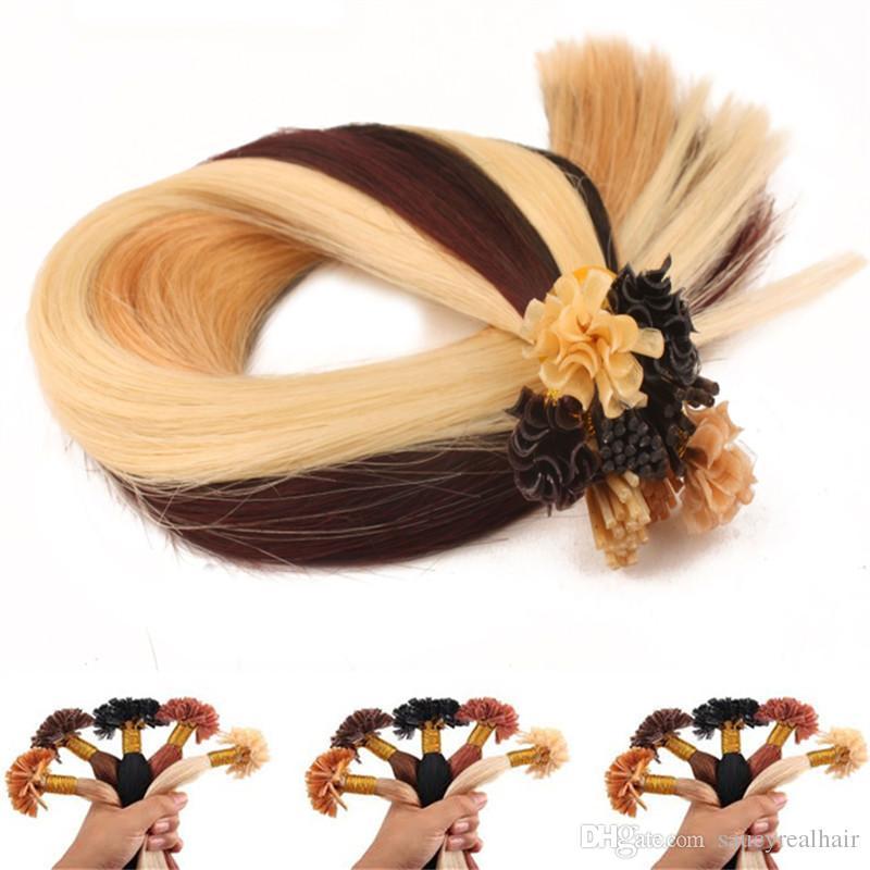 Wholesale- 1g s 100g pacco 14 '' - 24 '' 100% capelli umani u estensioni dei capelli punta Remy Prezzo di fabbrica indiano onda diritta del chiodo dei capelli 5 opzione di colore