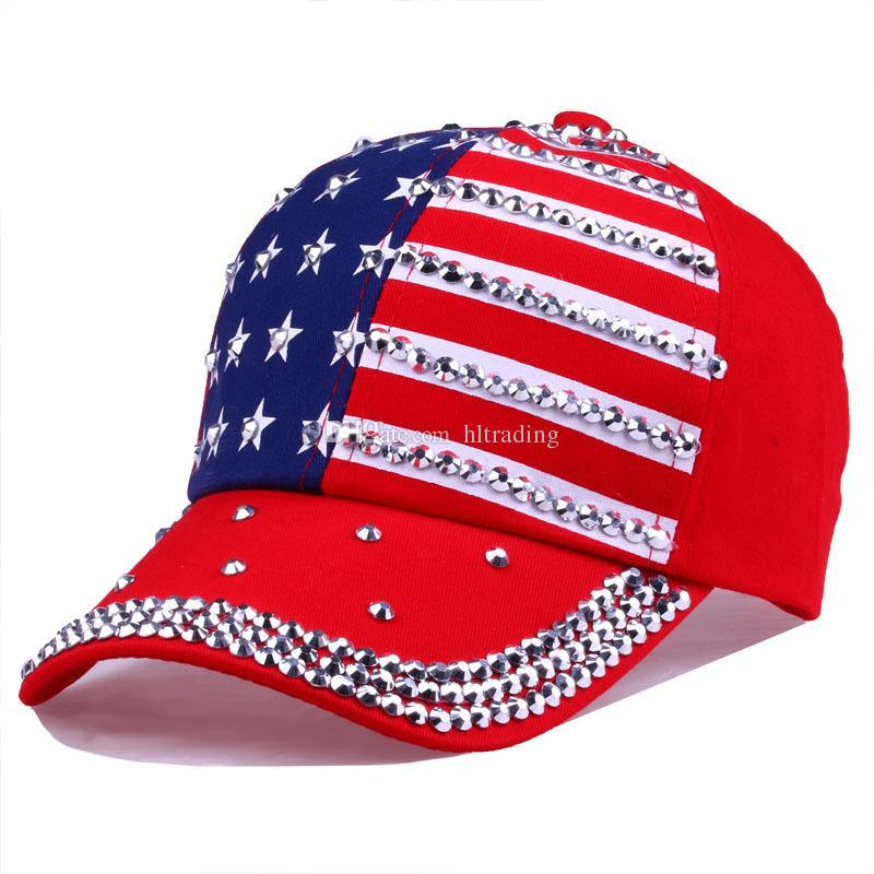 Berretti da baseball grandi bambini Estate 4 luglio American Flag Hat adolescente Moda strass cowboy Cap Leisure Star strisce cappelli da sole C4341