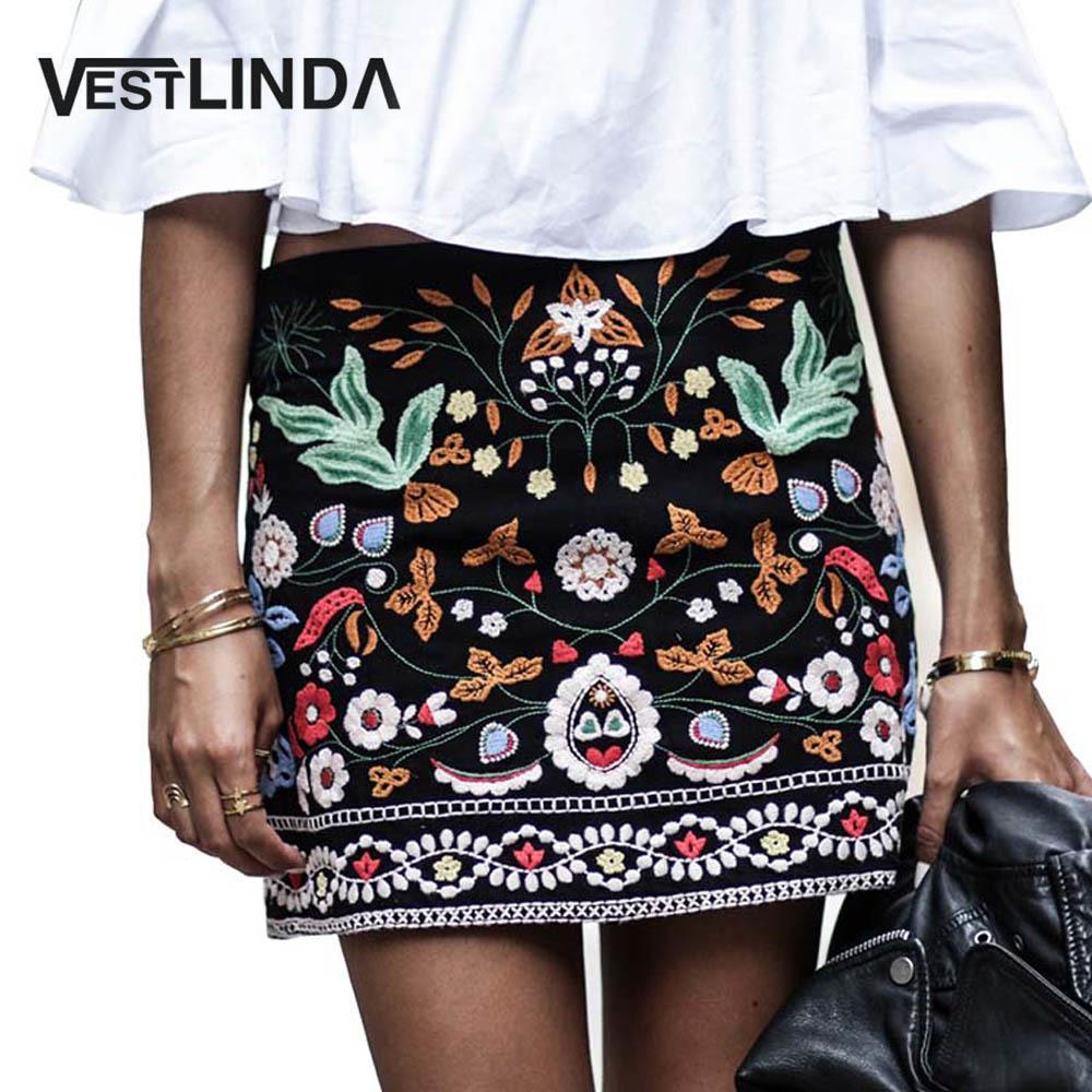 1fbd9b15e Compre VESTLINDA Falda Bordada Vintage Lápiz Faldas Cortas Mujeres Cintura  Alta Negro Boho Mini Casual Bordado Floral Falda Mujeres D1891705 A  23.97  Del ...