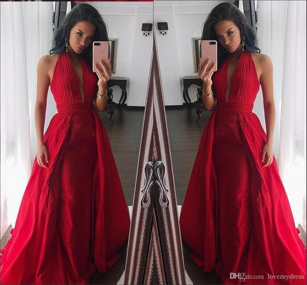 0d0f405007bec Red Halter Top V Neck Dresses Evening Wear Pleats Tiered Skirt 2019  Backless Elegant Formal Gowns Plus Size Pageant Dress Girl Party Dress  Evening Dresses ...