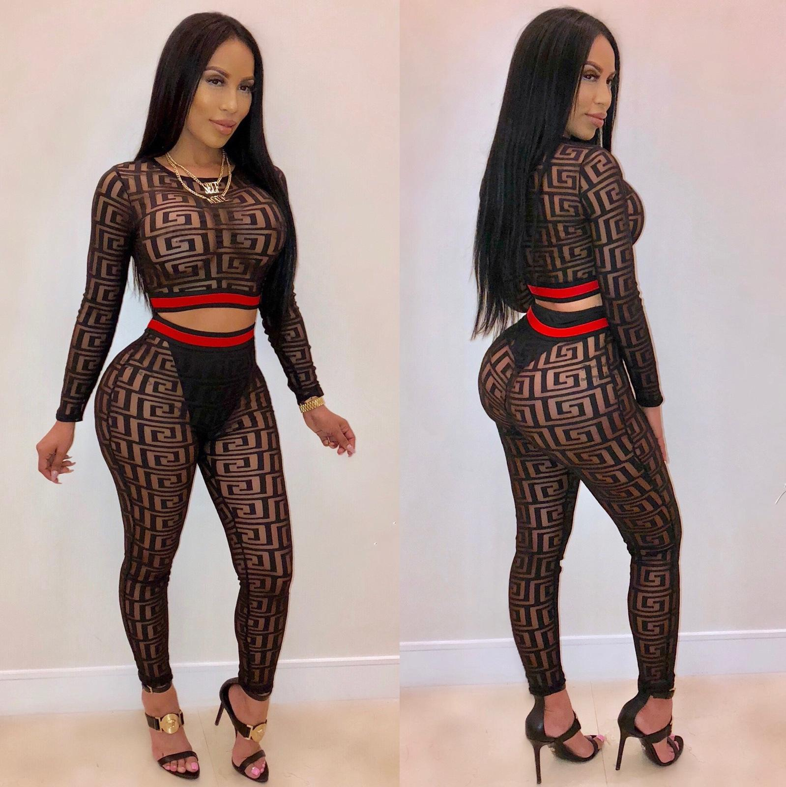 Women Tracksuits Autumn Sports Suits Black Sheer Gauze Side Ribbons Crop Top High Waist Slim Fit Two Piece Outfits Set Nightclubs 2pc Set