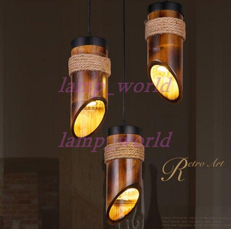 Loft Style Hemp Rope Bamboo Droplight Led Pendant Light Fixtures For Dining Room Hanging Lamp 110v 220v Metal Kits From