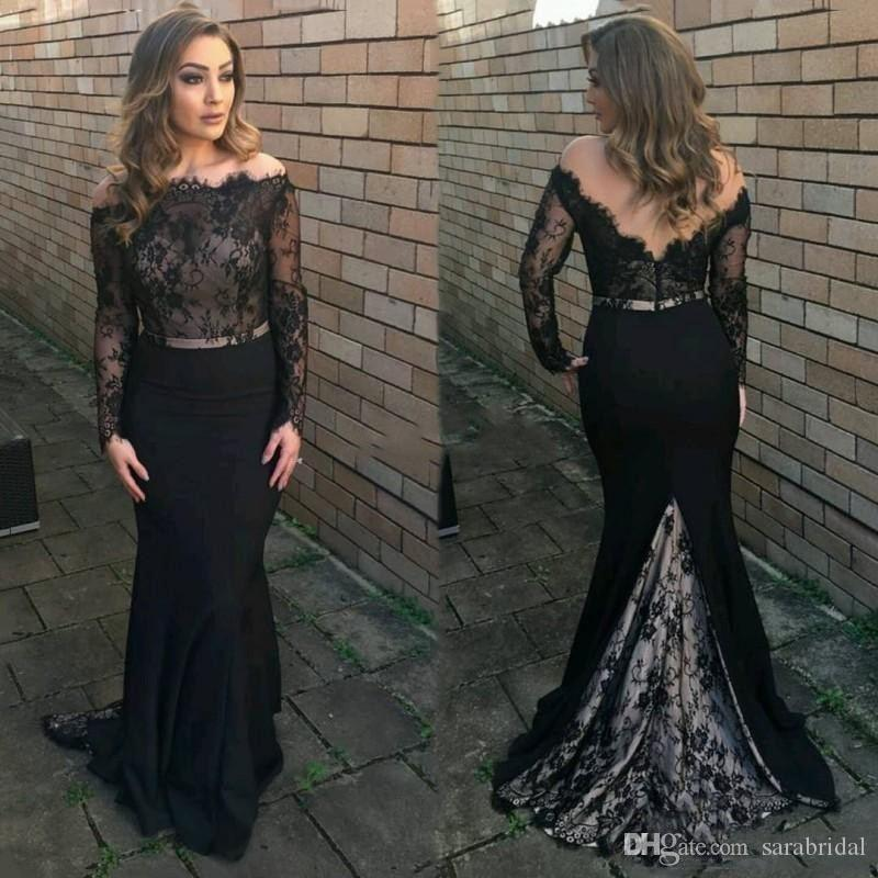 Modern Black Girl Evening Dress With Long Sleeve Sheer Top Satin Backless Zipper Africa Plus Size Mother Of Bride Formal Dresses Bridesmaid