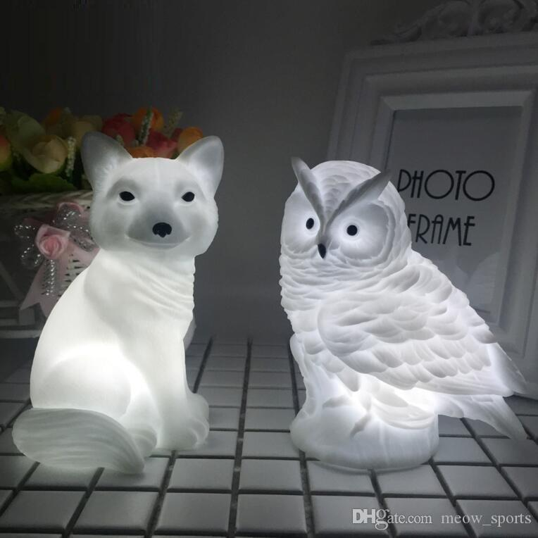 LED Lovely Creative Night Lamp High Quality Rabbit Fox Owl Lights High Quality Silicone Dolls Nightlight Baby Bedroom Table Lamps