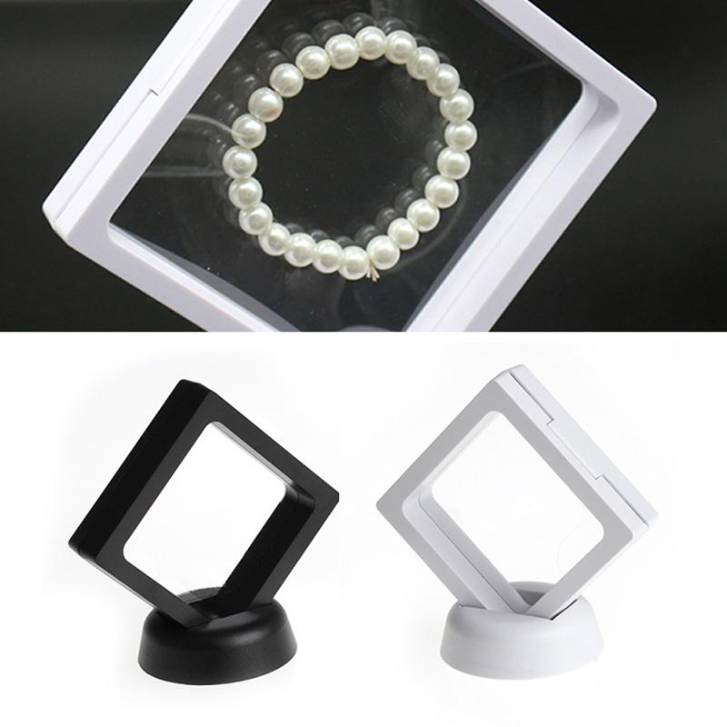 Black white Suspended Floating Display Case Jewellery Coins Gems Artefacts Stand Holder Box Jewellery & Stones Presentation Case