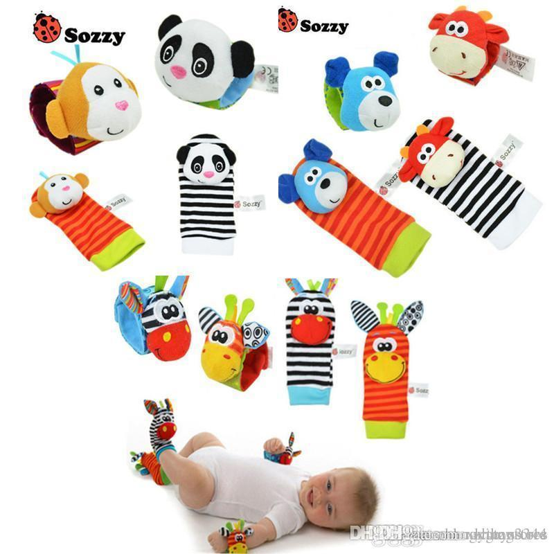 Wholesale- Baby Rattle Toys Wrist Foot Finder Small Soft Baby Boy Toy for 0-12 Months Children Infant Newborn Plush Socks Brinquedos