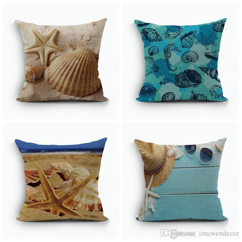 shell sunshine beach pattern cushion cover home sofa pillow cover rh dhgate com