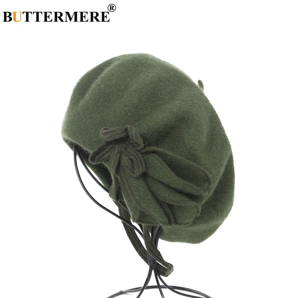 Compre BUTTERMERE Boina Francesa De Lana Para Mujer Verde Pintores Elegantes  Sombreros Ladies Solid Bowknot Casual Mujer Otoño Invierno Artista Cap A   18.47 ... c32861f2f0f