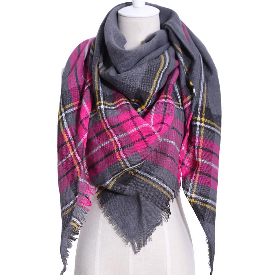 Brand New Triangle Winter Scarf Women Shawl Cashmere Acrylic Plaid ... 996d9fb84fe3